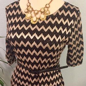 Classic Black & Gold Chevron Dress